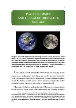 NGSS Earth & Space Science Astronomy Lesson Plan #41 Plate Tectonics,Earth's Age