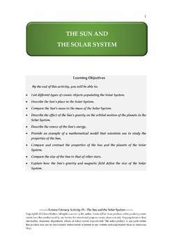 NGSS Earth & Space Science Astronomy Lesson Plan #5 The Sun and the Solar System