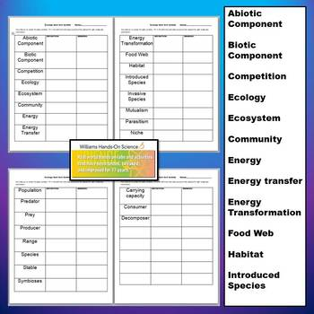 NGSS Ecology Card Sort and Vocabulary Chart