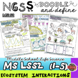 NGSS Ecosystems Interactions MS-LS2 Doodle Note Glossary