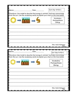 NGSS Energy Exit Slips (5th Grade)