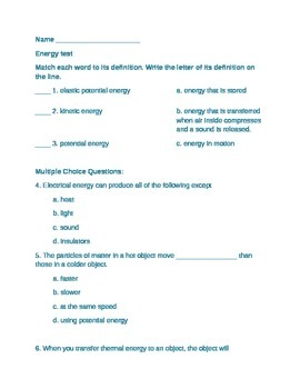 NGSS Energy Unit