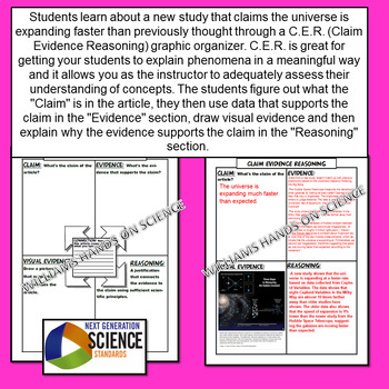 NGSS Expanding Universe Claim Evidence Reasoning Graphic Organizer