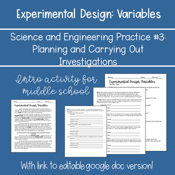 NGSS Experimental Design: Variables (Independent, Dependent and Constant)
