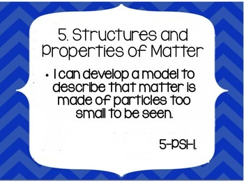 NGSS Fifth Grade I Can Statements BLUE CHEVRON