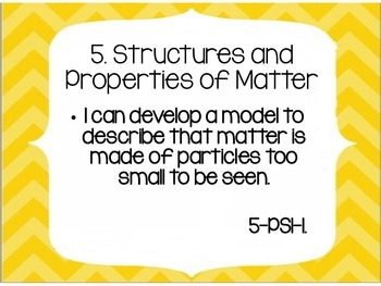 NGSS Fifth Grade I Can Statements YELLOW CHEVRON