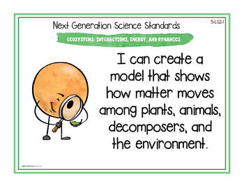 "NGSS ""I Can"" Posters & Statement Cards Fifth Grade Science Standards"