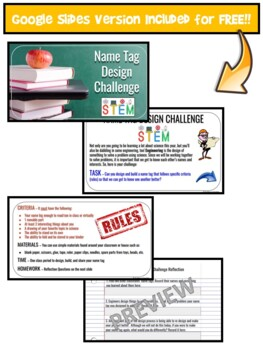 First Day of School STEM Science NGSS Activity Name Tag Design Engineering Intro