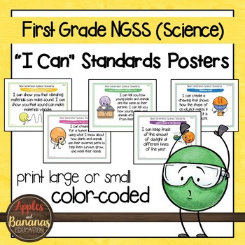 "NGSS ""I Can"" Posters & Statement Cards First Grade Science"