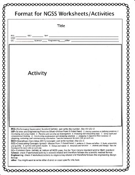 NGSS Format for Worksheets and Activities
