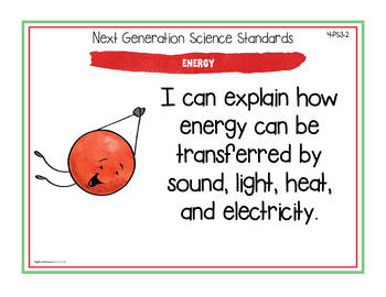 "NGSS ""I Can"" Posters & Statement Cards Fourth Grade Science Standards"
