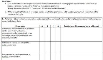 NGSS Gap Analysis Template Middle School