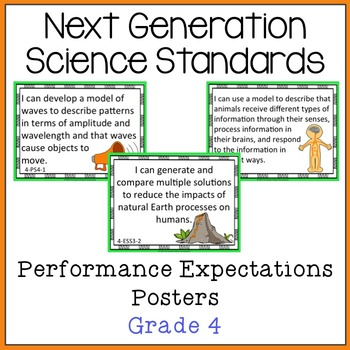 NGSS Grade 4 Performance Expectations Posters