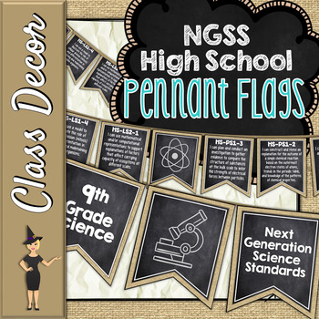 NGSS HIGH SCHOOL SCIENCE STANDARDS BANNERS, I CAN STATEMENTS - CHALK & BURLAP