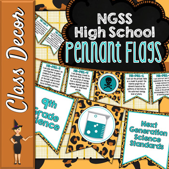 NGSS HIGH SCHOOL SCIENCE STANDARDS BANNERS, I CAN STATEMENTS - LEOPARD