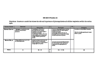 NGSS HS-LS2-5 Assessment and Practice Assignments with Rubric