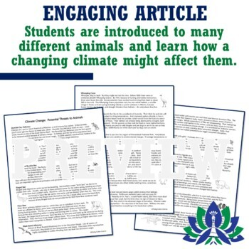 How Global Warming Climate Change Affects Animals Reading Article & Worksheet