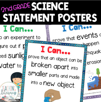 NGSS I Can Statements - 2nd Grade - Color & Black/White - Illustrated - NO PREP!