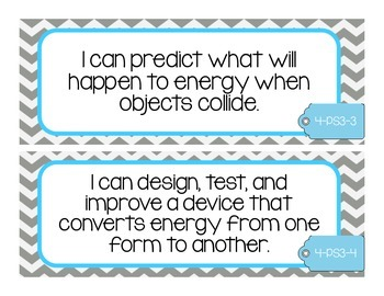 NGSS I Can Statements 4th Grade