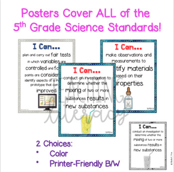 NGSS I Can Statements - 5th Grade - Color & Black/White - Illustrated - NO PREP!
