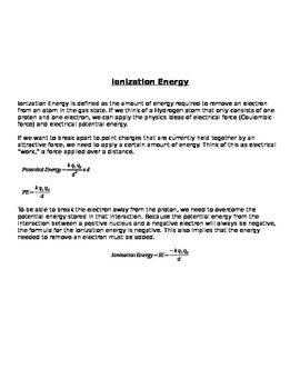 NGSS Ionization Energy Trends Lesson Bundle