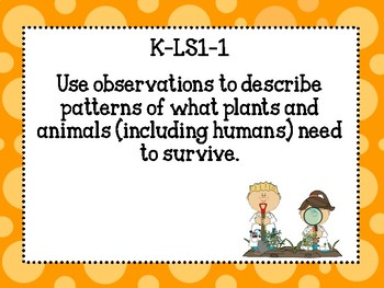 Kindergarten NGSS Science Standards for classroom!