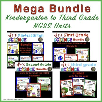 NGSS Kindergarten to Third Grade Units Mega Bundle