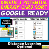 NGSS Kinetic and Potential Energy Card sort, Energy Worksheet & Close Reading