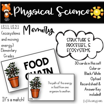 NGSS:LS1.1/2.1 Life Science Memory Game/Structure & Processes, & Ecosystems