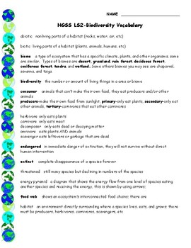 NGSS LS2 Biodiversity Vocabulary
