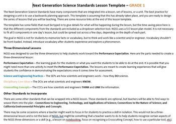 NGSS Lesson Planning Template - 1st Grade