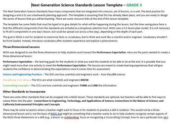 NGSS Lesson Planning Template - 3rd Grade