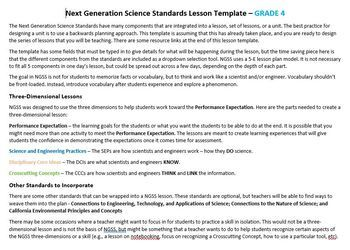 Ngss Lesson Planning Template 4th Grade By Experimentor Tpt