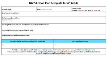 NGSS Lesson Planning Template - 4th Grade