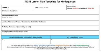 NGSS Lesson Planning Template - Kindergarten