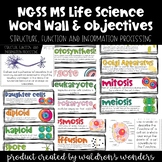 NGSS Life Science Cells and Human Body Word Wall, Objectives, and Binder Cover