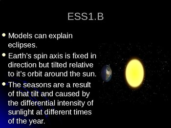 NGSS MS-ESS1-1 Earth's Place in the Universe-Earth-Sun-Moon System