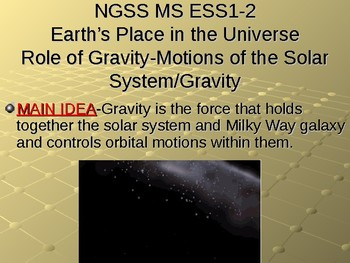 NGSS MS ESS1-2 Role of Gravity-Motions of the Solar System/Gravity PowerPoint