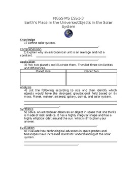 NGSS MS ESS1-3 Earth's Place in the Universe/Objects in the Solar System WS