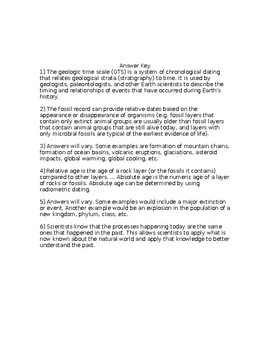 NGSS MS-ESS1-4 Geologic Time Scale Worksheet