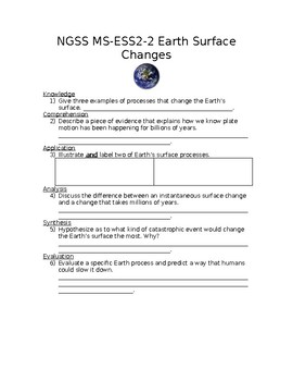 NGSS MS-ESS2-2 Earth Surface Changes Worksheet