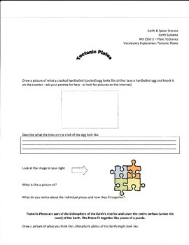 NGSS MS-ESS2.2 Plate Tectonics Vocabulary Explorations Sheets