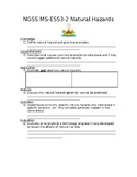 NGSS MS-ESS3-2 Natural Hazards Worksheet with Answer Key