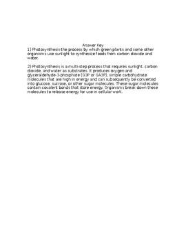 NGSS MS-LS 1-6 Photosynthesis Worksheet with Answer Key