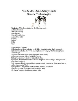 NGSS MS-LS4-5 Study Guide Genetic Technologies