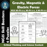 Gravity, Magnetic Forces, and Electric Forces Puzzles NGSS Skill Boosters