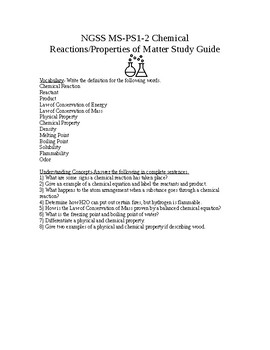 NGSS MS-PS1-2 Chemical Reactions/Properties of Matter Study Guide with Key