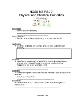 NGSS MS PS1-2  Physical and Chemical Properties Worksheet with Answer Key
