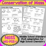 NGSS MS-PS1-5 Conservation of Mass