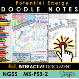 NGSS MS-PS3-2 Potential Energy Doodle Notes Plus INTERACTIVE